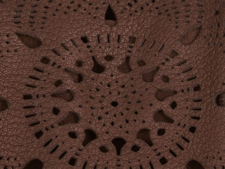 Chocolate Laser-Cut Lace Leather Gloves - cell image 1