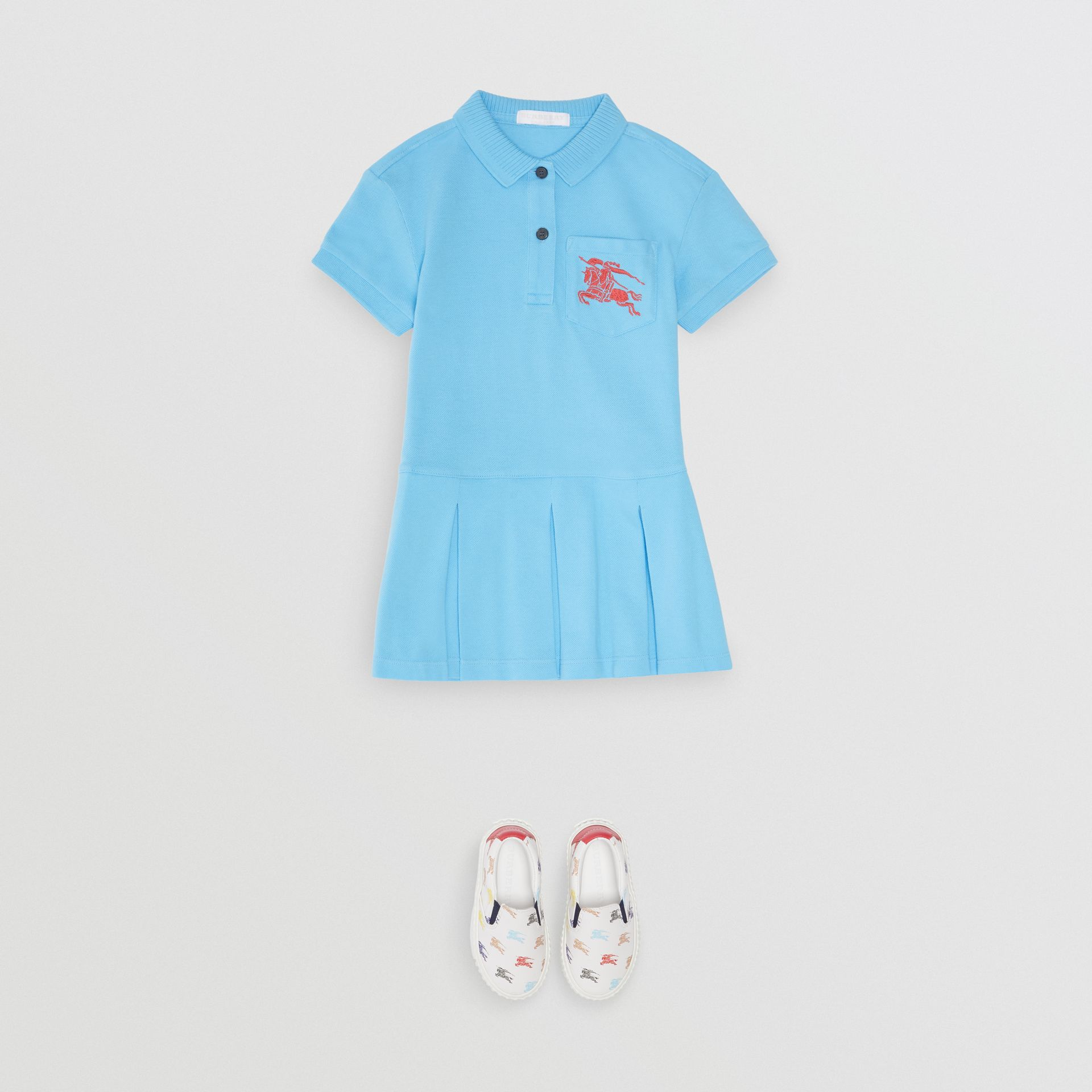 EKD Logo Cotton Polo Dress in Hydrangea Blue - Girl | Burberry - gallery image 2