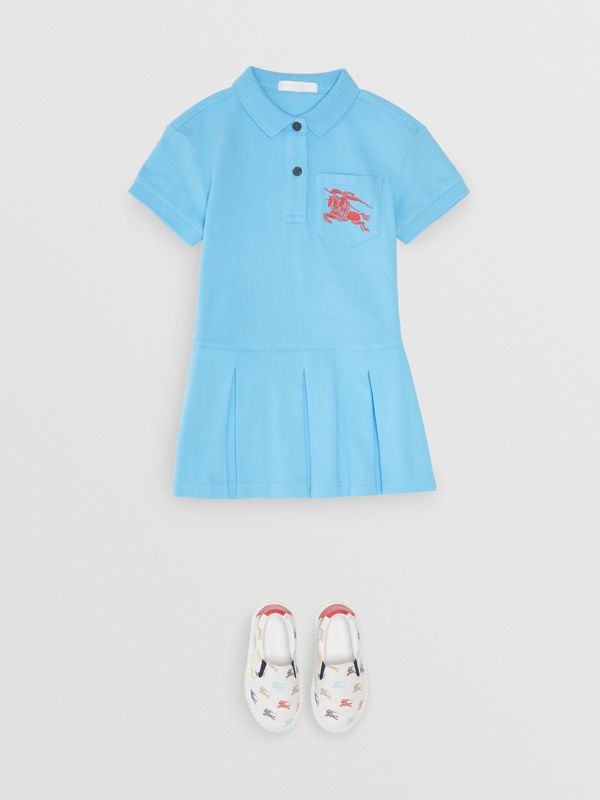 EKD Logo Cotton Polo Dress in Hydrangea Blue - Girl | Burberry - cell image 2