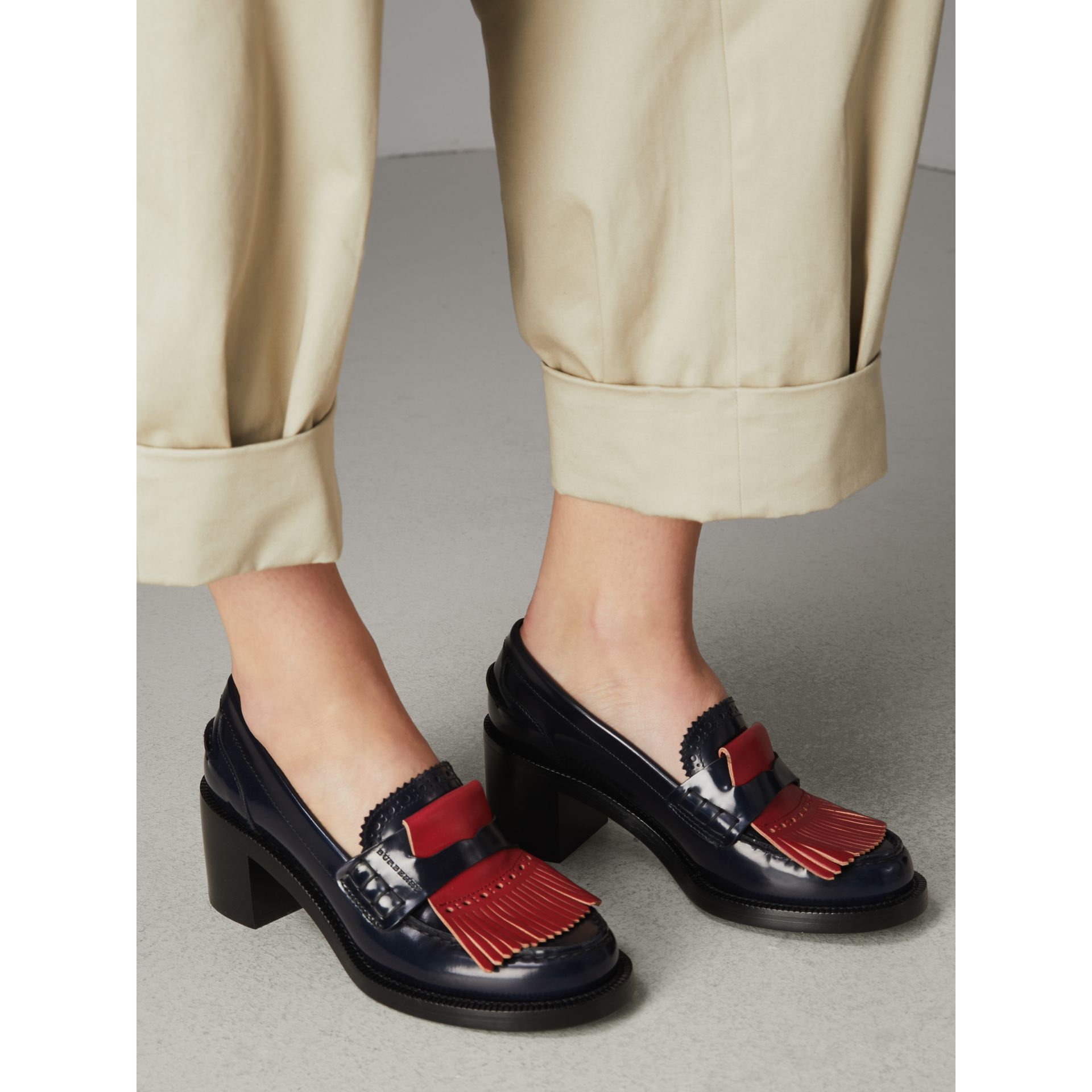 Contrast Kiltie Fringe Leather Block-heel Loafers in Navy - Women | Burberry - gallery image 2