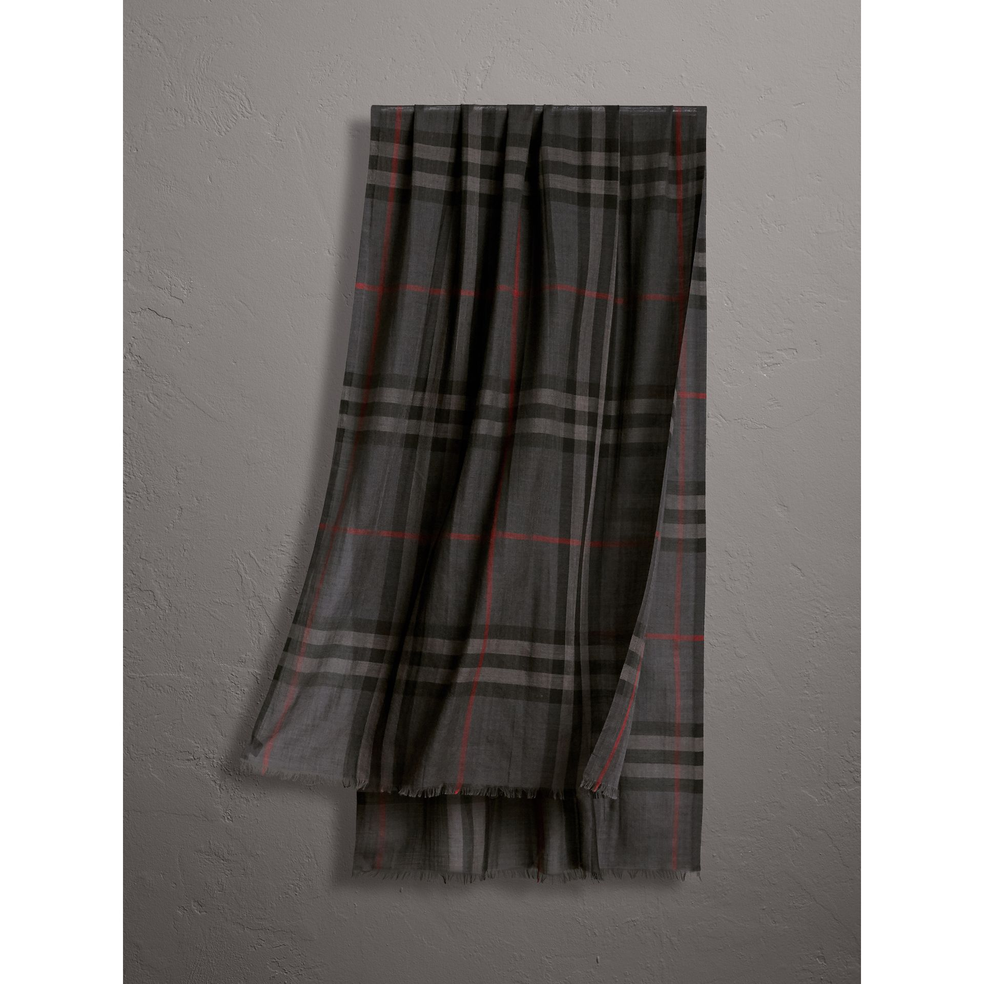 Lightweight Check Wool and Silk Scarf in Charcoal | Burberry - gallery image 0