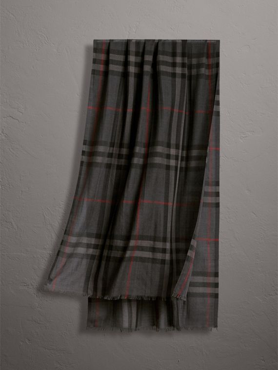 Lightweight Check Wool and Silk Scarf in Charcoal