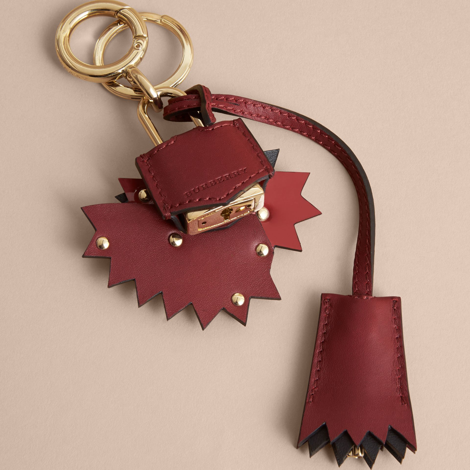 Beasts Leather Key Charm and Padlock in Crimson Red - Women | Burberry - gallery image 4