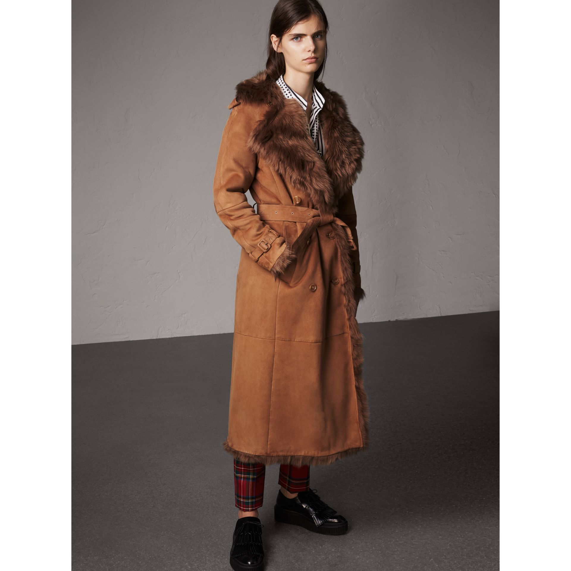 Shearling Long Trench Coat in Dark Camel - Women | Burberry - gallery image 6