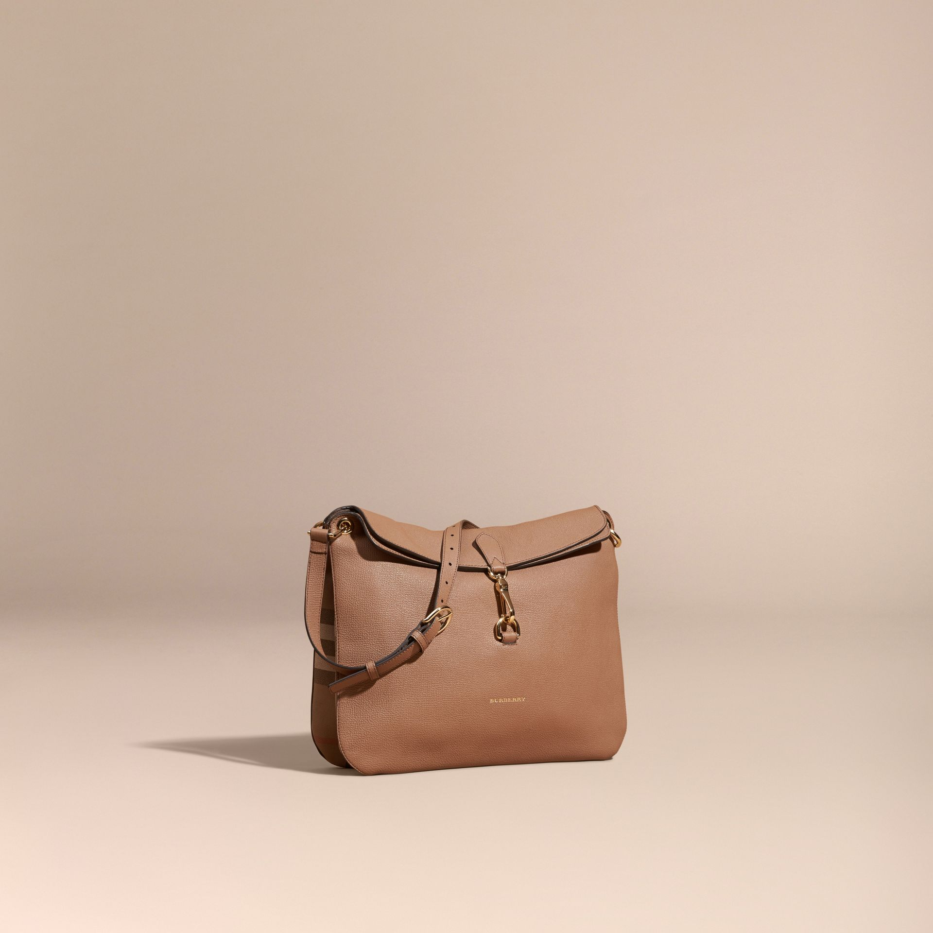 Dark sand Grainy Leather and House Check Shoulder Bag - gallery image 1