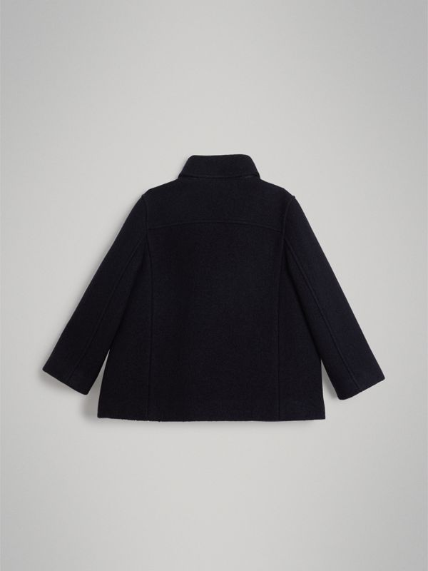 Painted Button Wool Pea Coat in Navy | Burberry Singapore - cell image 3