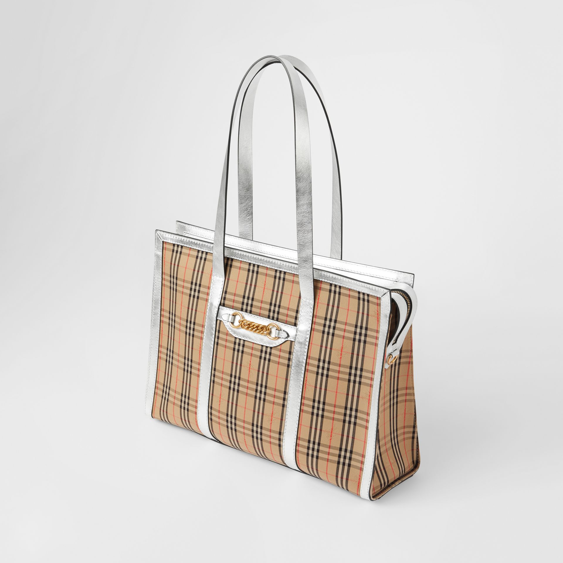 The 1983 Check Link Tote Bag in Silver - Women | Burberry Australia - gallery image 3