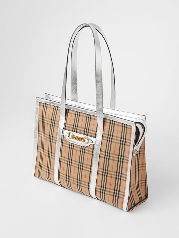 The 1983 Check Link Tote Bag in Silver - Women | Burberry Australia - cell image 3