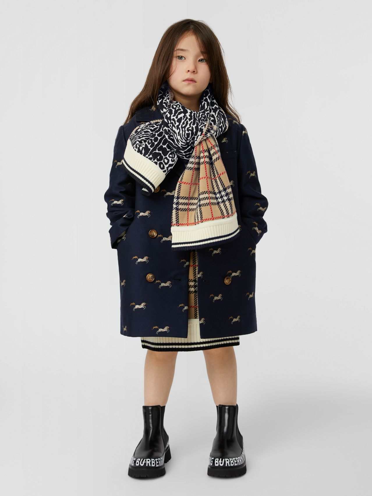 Unicorn Wool Silk Jacquard Tailored Coat in Navy