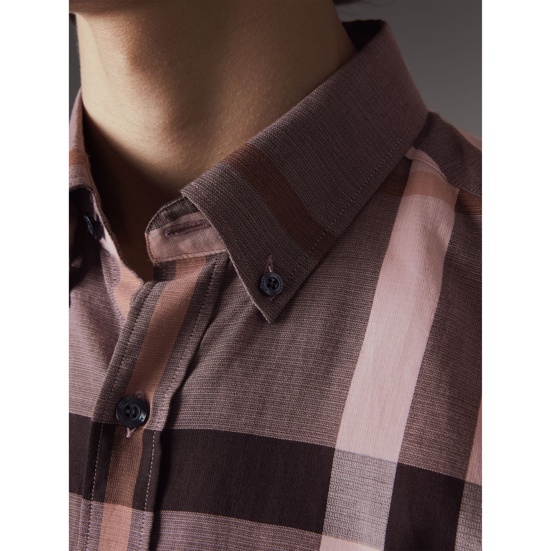 Button-down Collar Short-sleeve Check Cotton Shirt in Antique Rose - Men | Burberry - gallery image 2