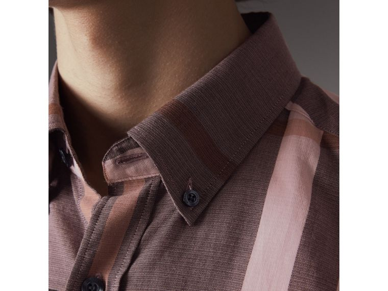 Button-down Collar Short-sleeve Check Cotton Shirt in Antique Rose - Men | Burberry - cell image 1