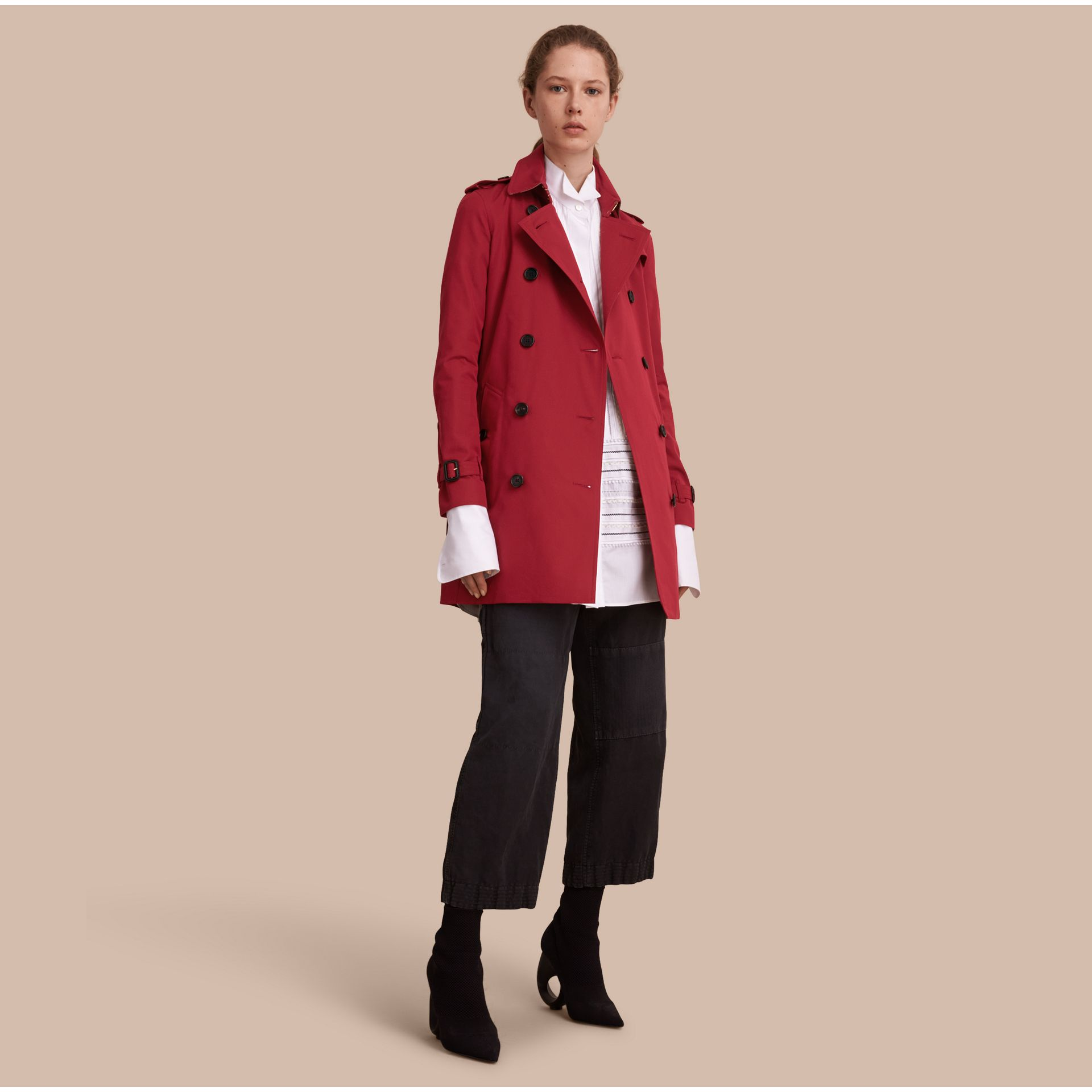 Parade red The Kensington – Mid-Length Heritage Trench Coat Parade Red - gallery image 1