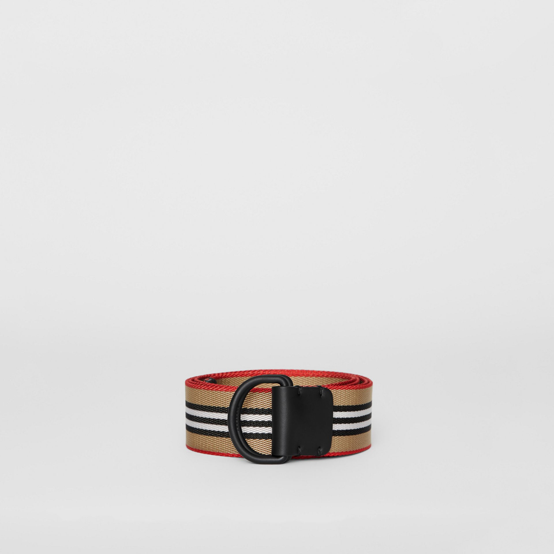 Icon Stripe Double D-ring Belt in Archive Beige - Men | Burberry Singapore - gallery image 3