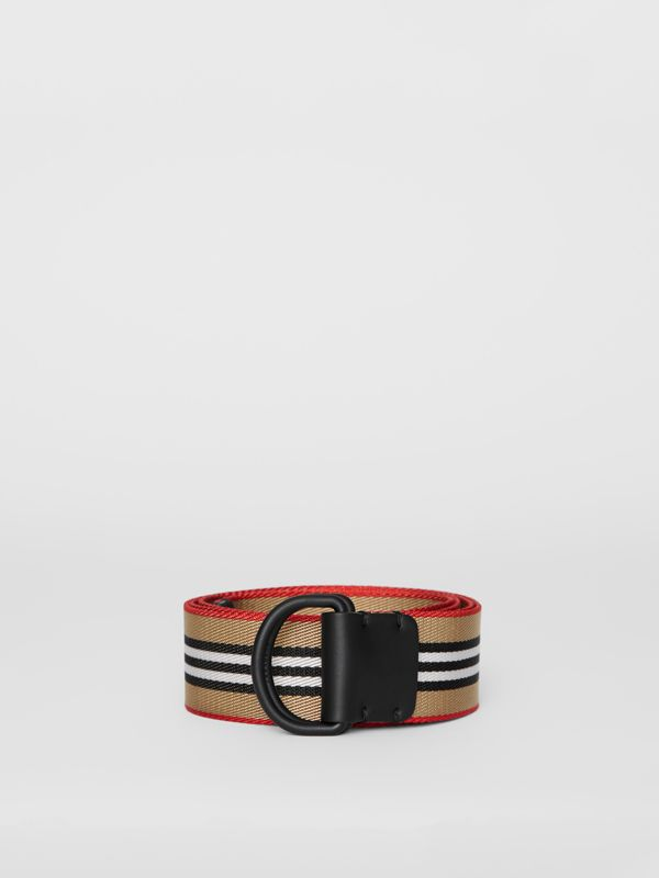 Icon Stripe Double D-ring Belt in Archive Beige - Men | Burberry Singapore - cell image 3