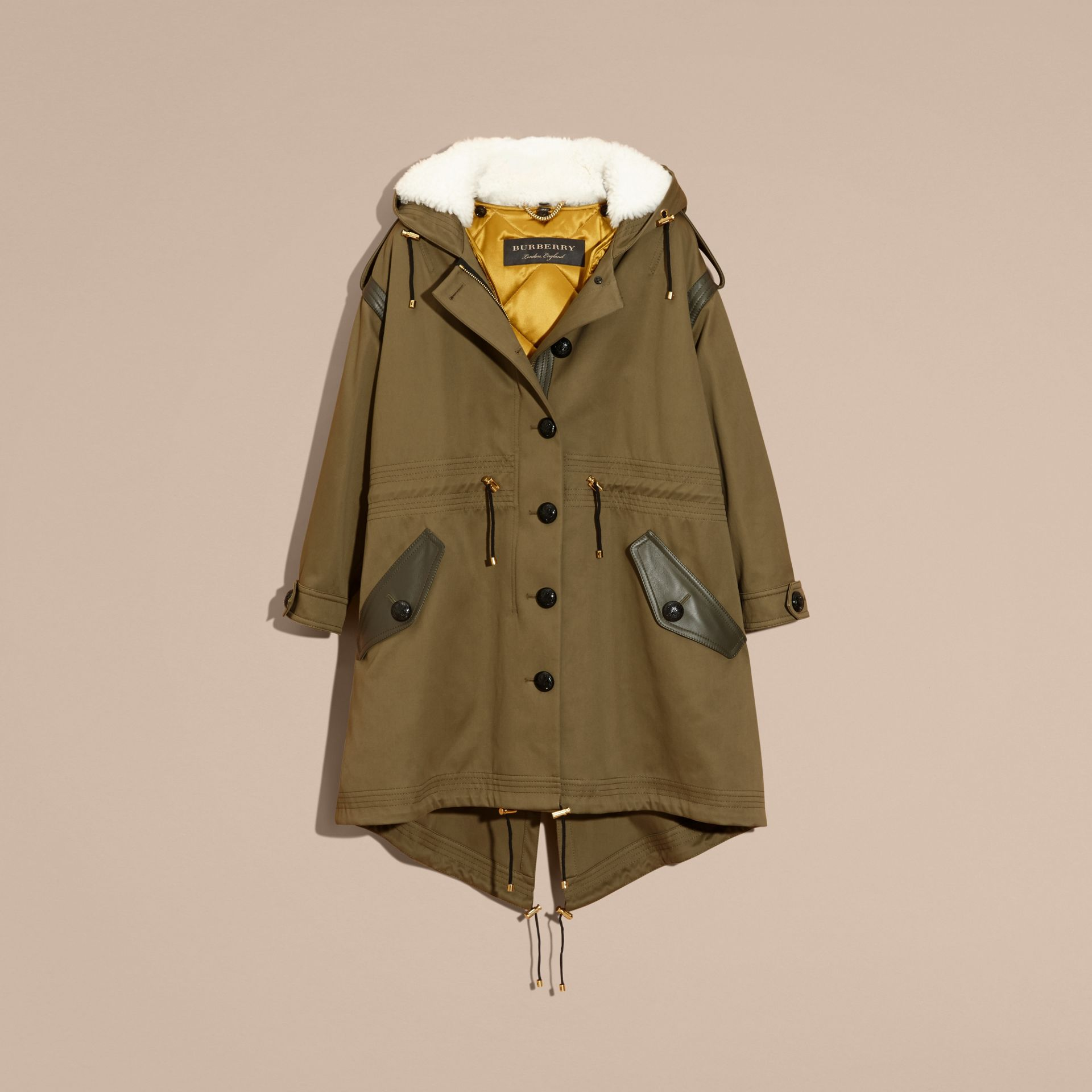 Olive Shearling-trimmed Cotton Canvas Parka - gallery image 4