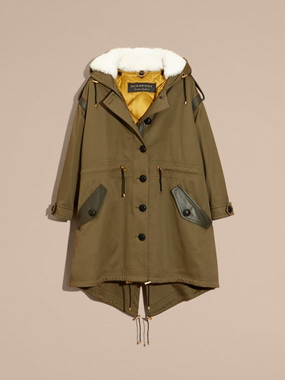 Olive Shearling-trimmed Cotton Canvas Parka - cell image 3