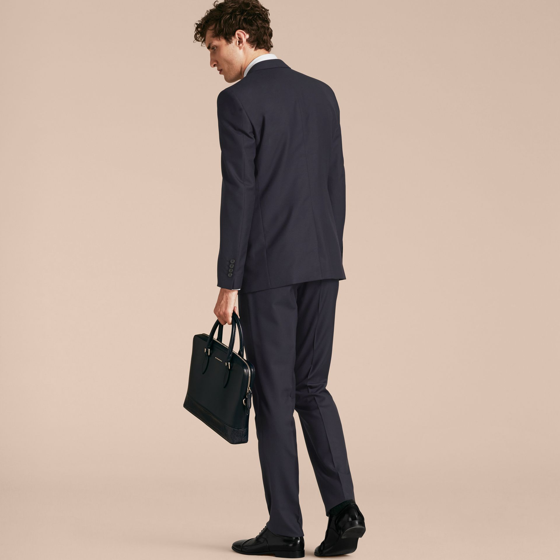 Modern Fit Wool Part-canvas Suit in Navy - Men | Burberry - gallery image 3