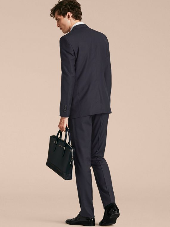 Navy Modern Fit Wool Part-canvas Suit Navy - cell image 2