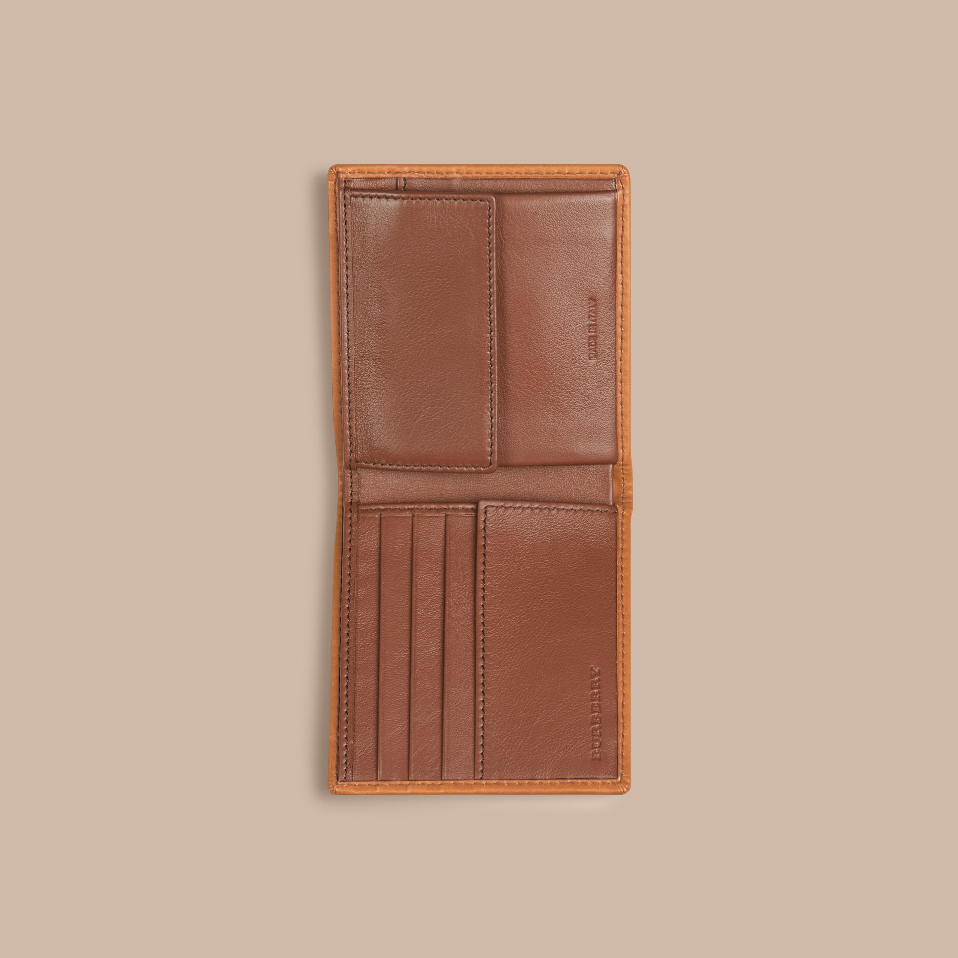 Horseferry Check Folding Coin Wallet Tan - gallery image 4