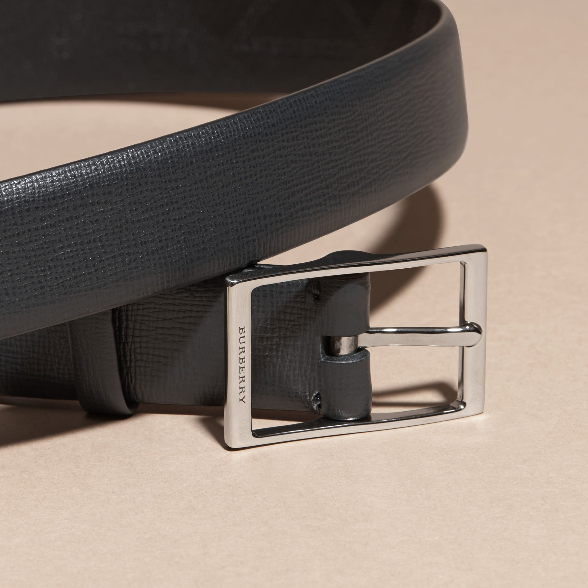 Black London Leather Belt Black - gallery image 2