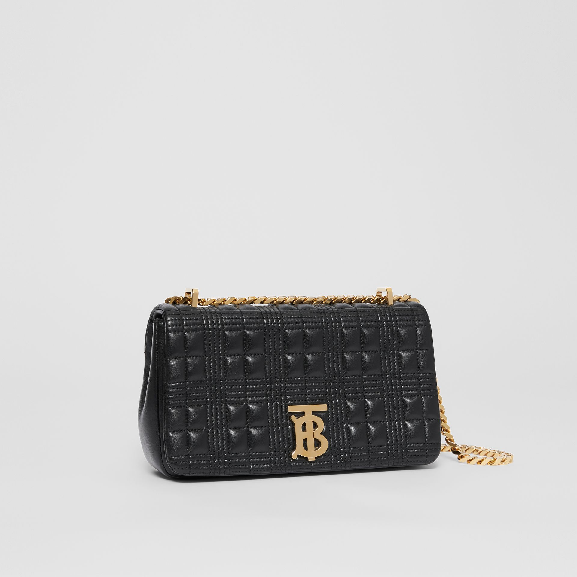 Small Quilted Check Lambskin Lola Bag in Black - Women | Burberry - gallery image 5