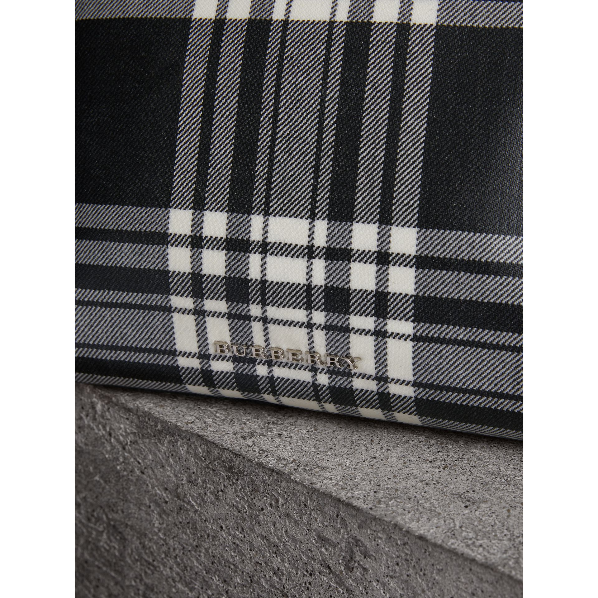Large Laminated Tartan and Check Wool Blend Pouch in Black/white - Women | Burberry - gallery image 1