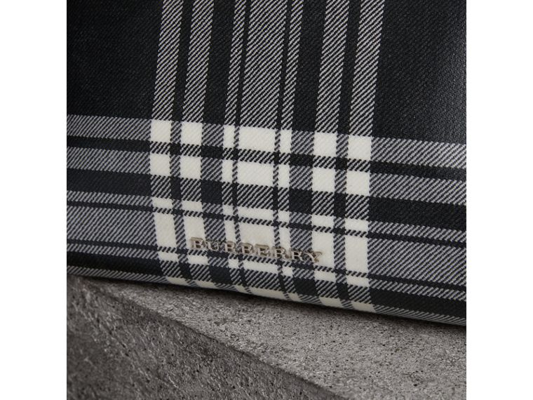 Large Laminated Tartan and Check Wool Blend Pouch in Black/white - Women | Burberry - cell image 1