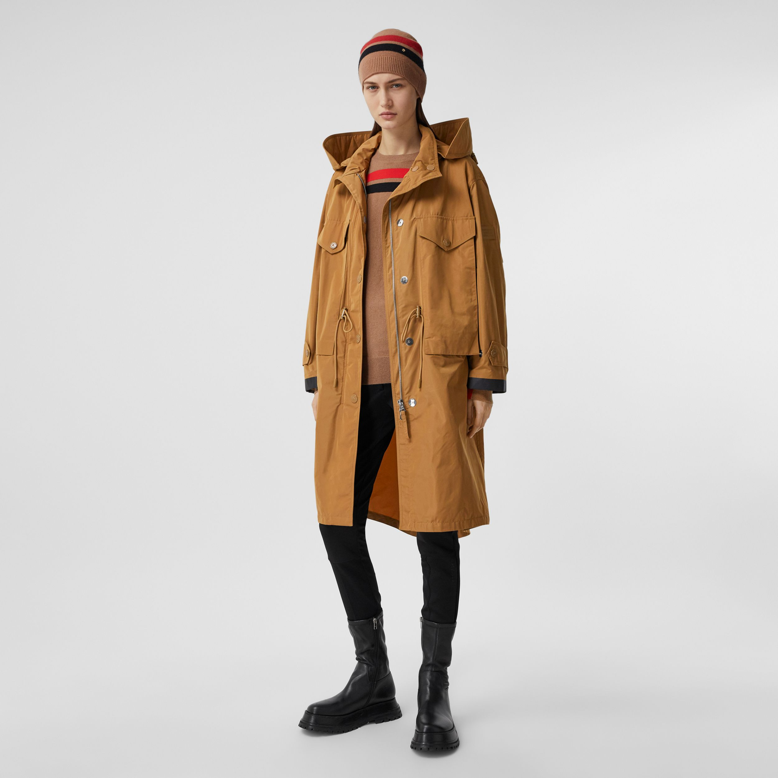 Detachable Hood Shape-memory Taffeta Parka in Camel - Women | Burberry - 1