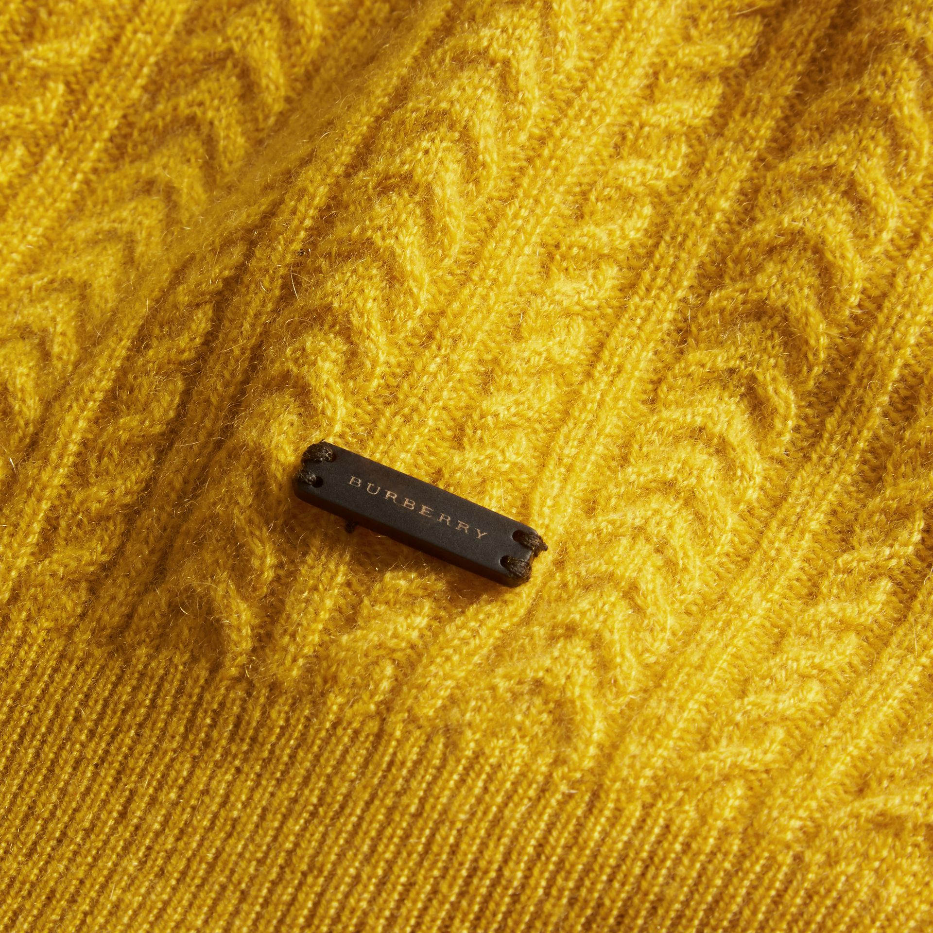 Citrus yellow Aran Knit Cashmere Sweater Citrus Yellow - gallery image 2