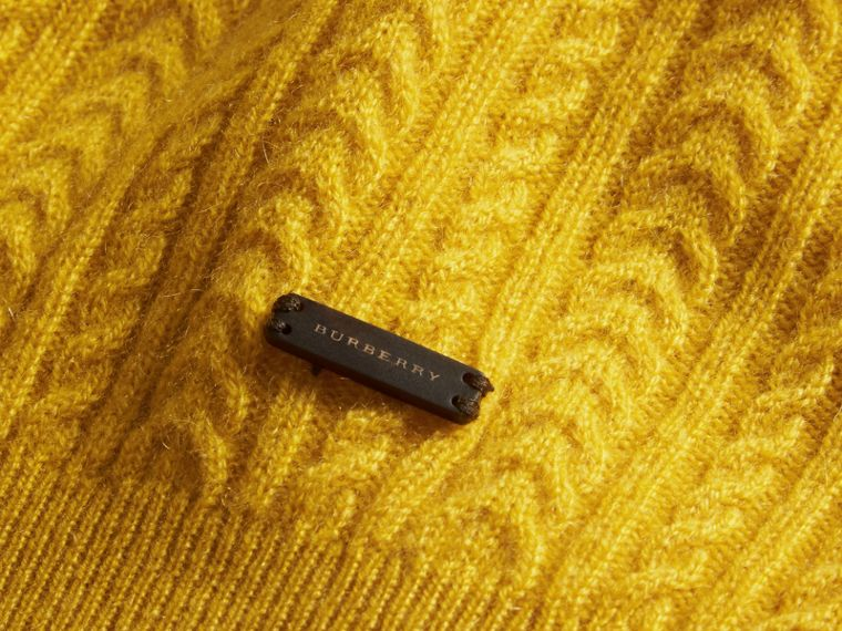 Citrus yellow Aran Knit Cashmere Sweater Citrus Yellow - cell image 1