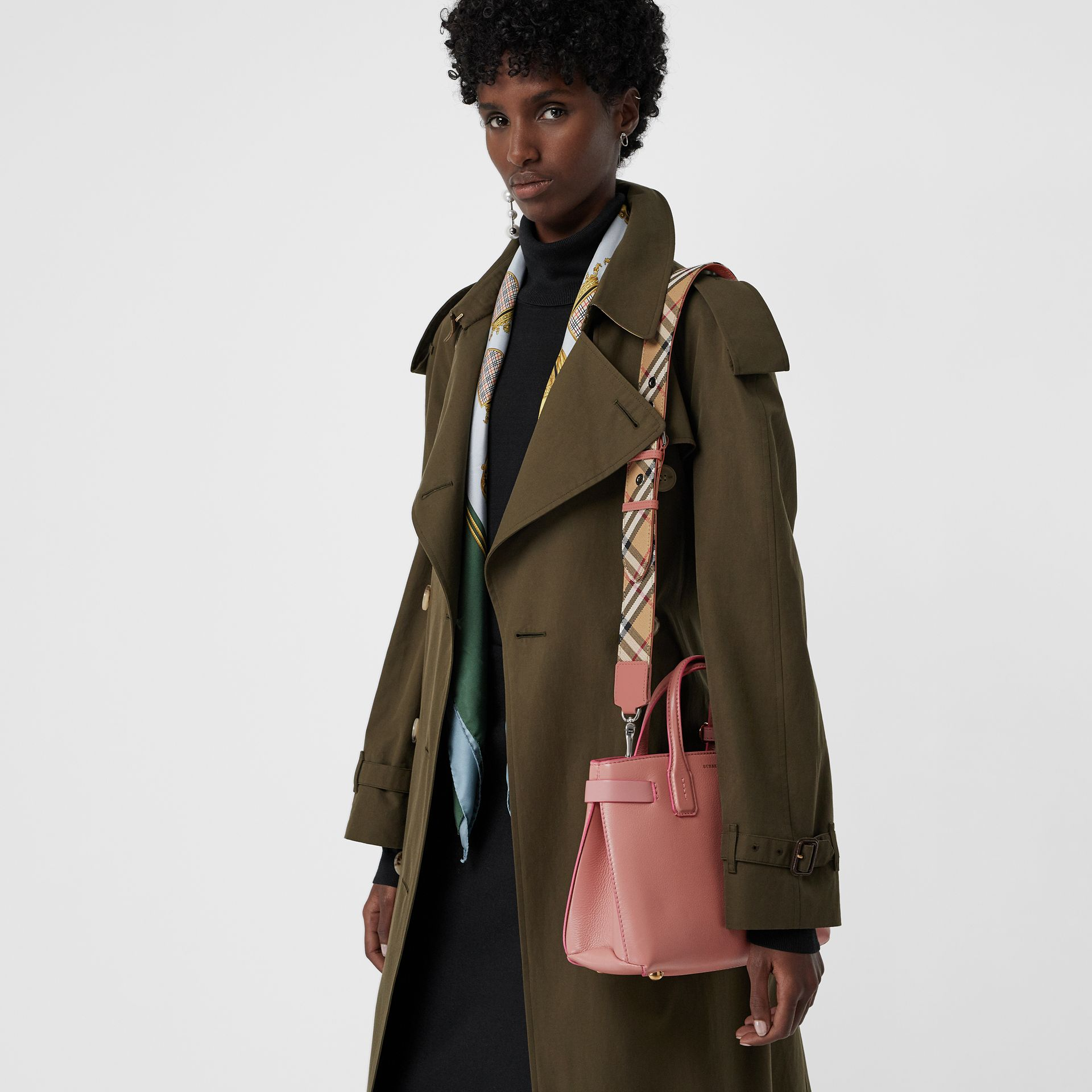 The Small Banner in Leather and Vintage Check in Dusty Rose - Women | Burberry Australia - gallery image 3
