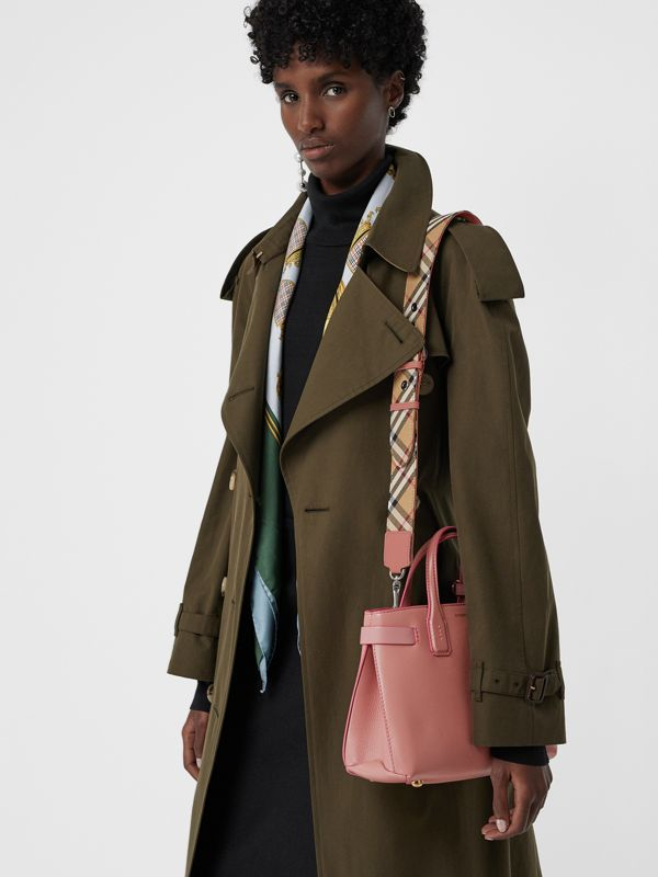The Small Banner in Leather and Vintage Check in Dusty Rose - Women | Burberry Australia - cell image 3