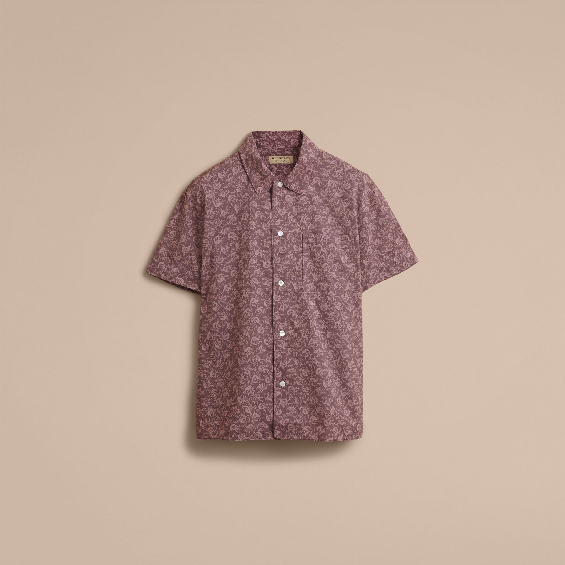 Short-sleeve Leaf Print Cotton Shirt in Mauve - Men | Burberry - gallery image 4