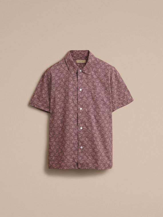 Short-sleeve Leaf Print Cotton Shirt in Mauve - Men | Burberry - cell image 3