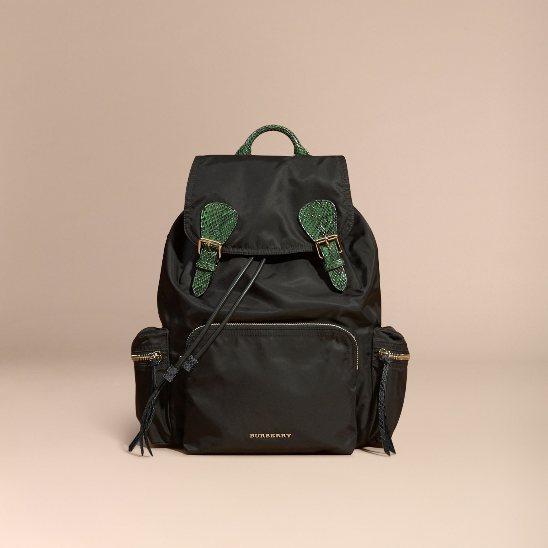 Black/bright green The Large Rucksack in Technical Nylon and Snakeskin Black/bright Green - gallery image 10