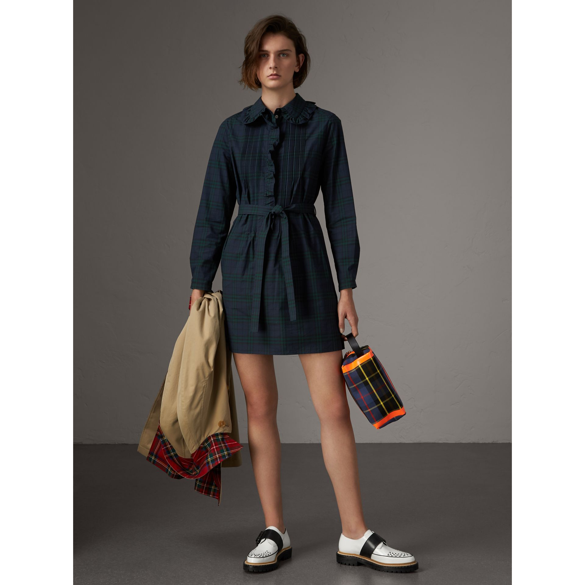 Pintuck Detail Tie-waist Tartan Cotton Tunic Dress in Ink Blue - Women | Burberry Singapore - gallery image 0