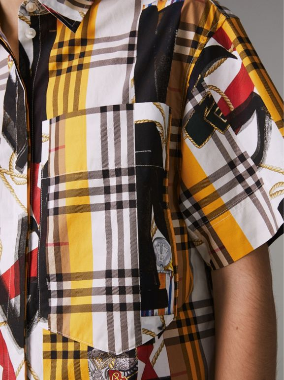 Short-sleeve Archive Scarf Print Check Cotton Shirt in Multicolour - Women | Burberry United Kingdom - cell image 1