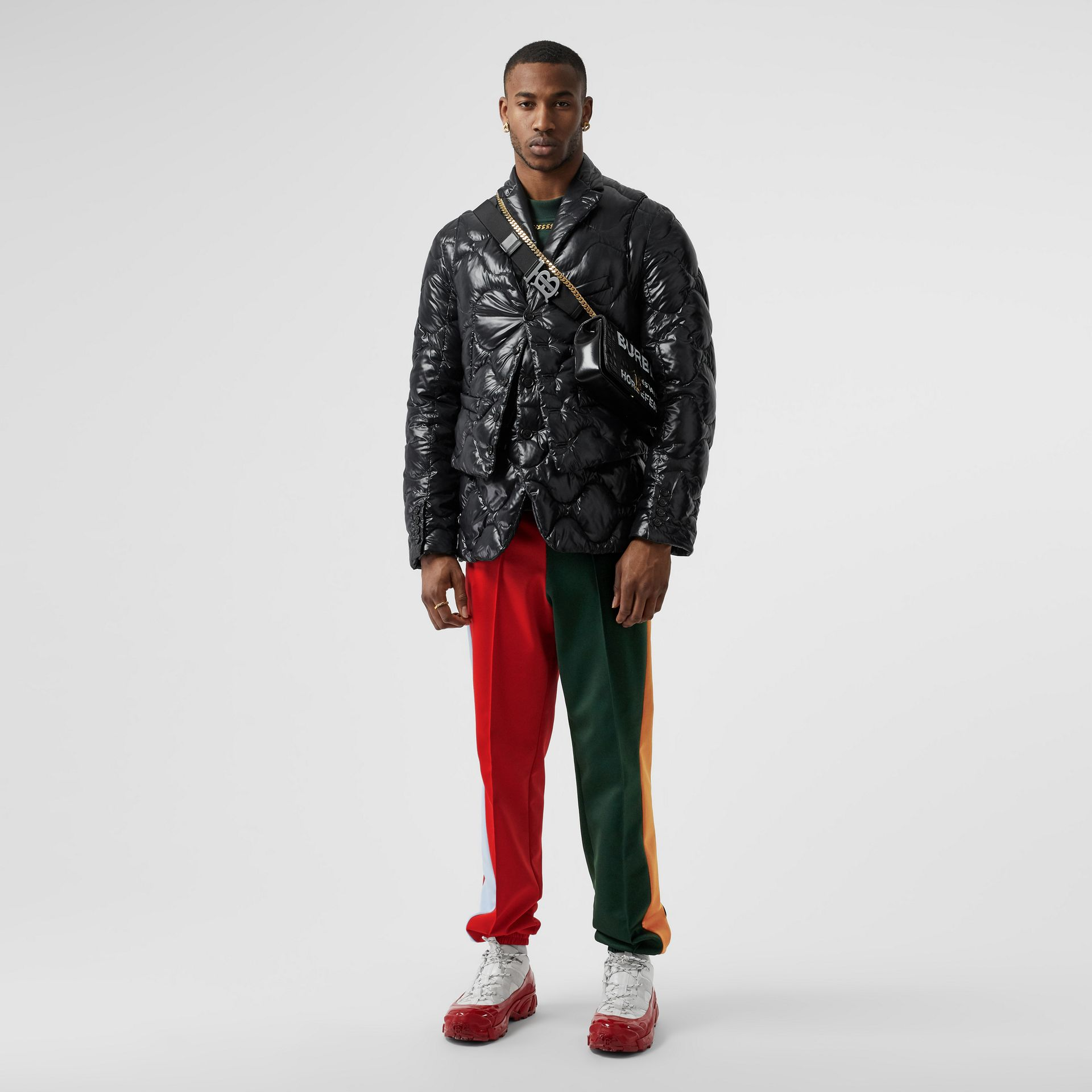 Pantalon de survêtement en jersey color-block avec logo (Vert Pin Sombre) - Homme | Burberry - photo de la galerie 0