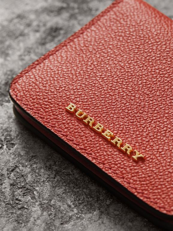 Leather and Haymarket Check ID Card Case Charm in Cinnamon Red/multi - Women | Burberry - cell image 1
