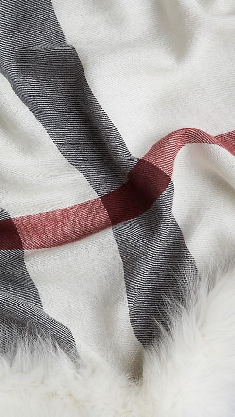 Ivory check Fur Trim Cashmere Check Scarf - Image 3