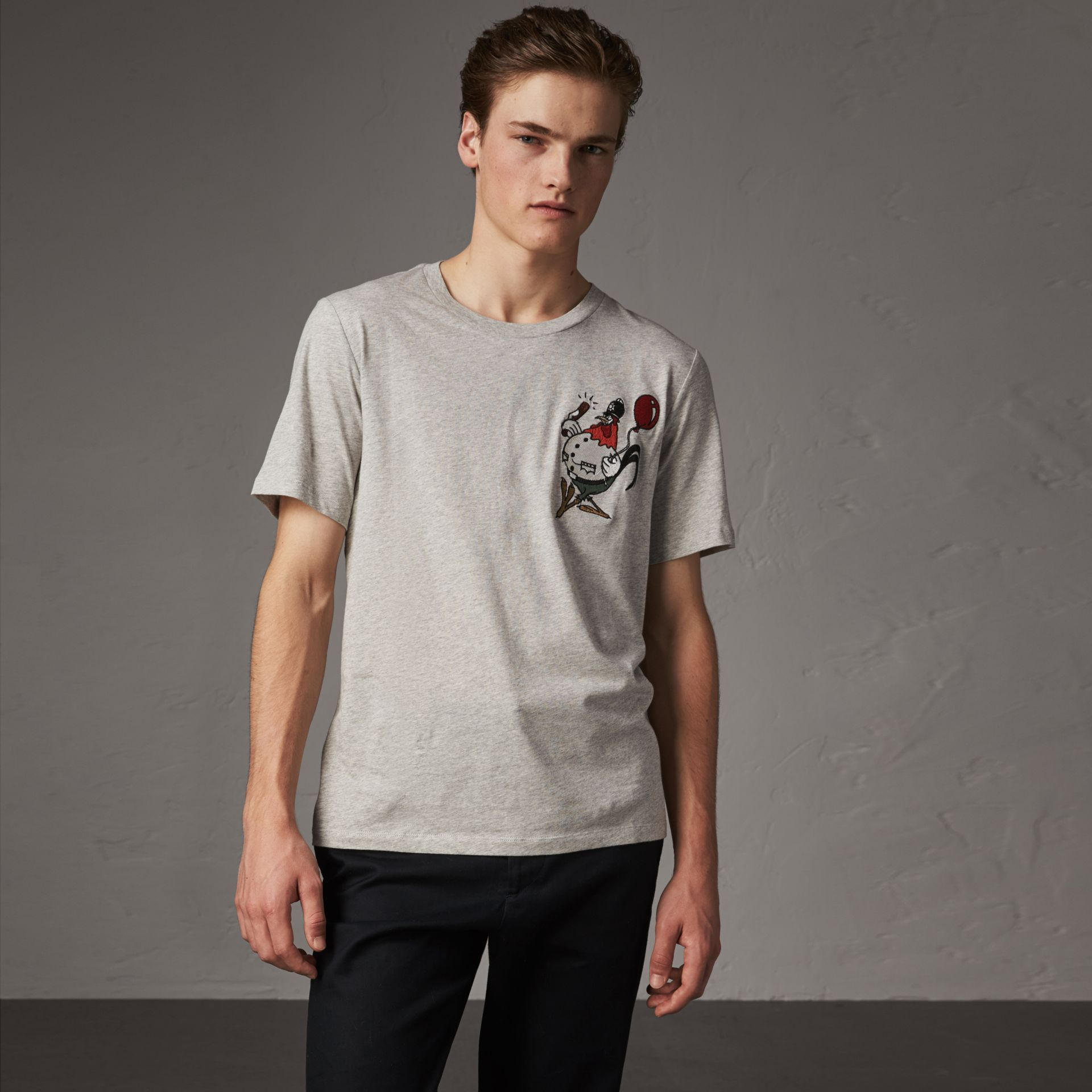 Sketch Appliqué Cotton T-shirt in Pale Grey Melange - Men | Burberry - gallery image 0