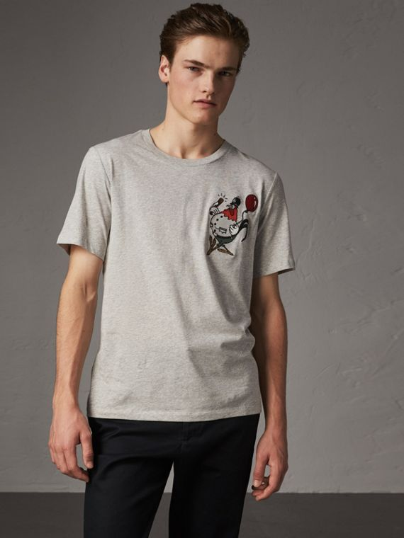 Sketch Appliqué Cotton T-shirt in Pale Grey Melange