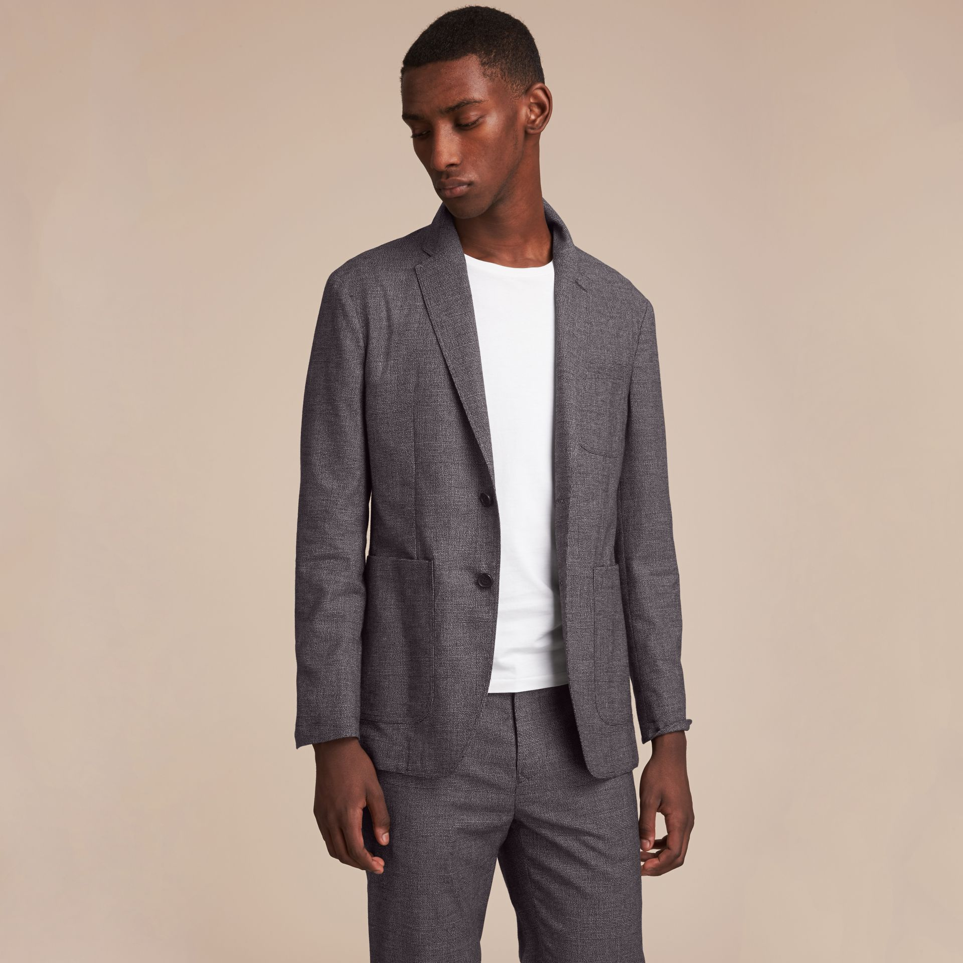 Prince of Wales Cotton Wool Blend Blazer - gallery image 7