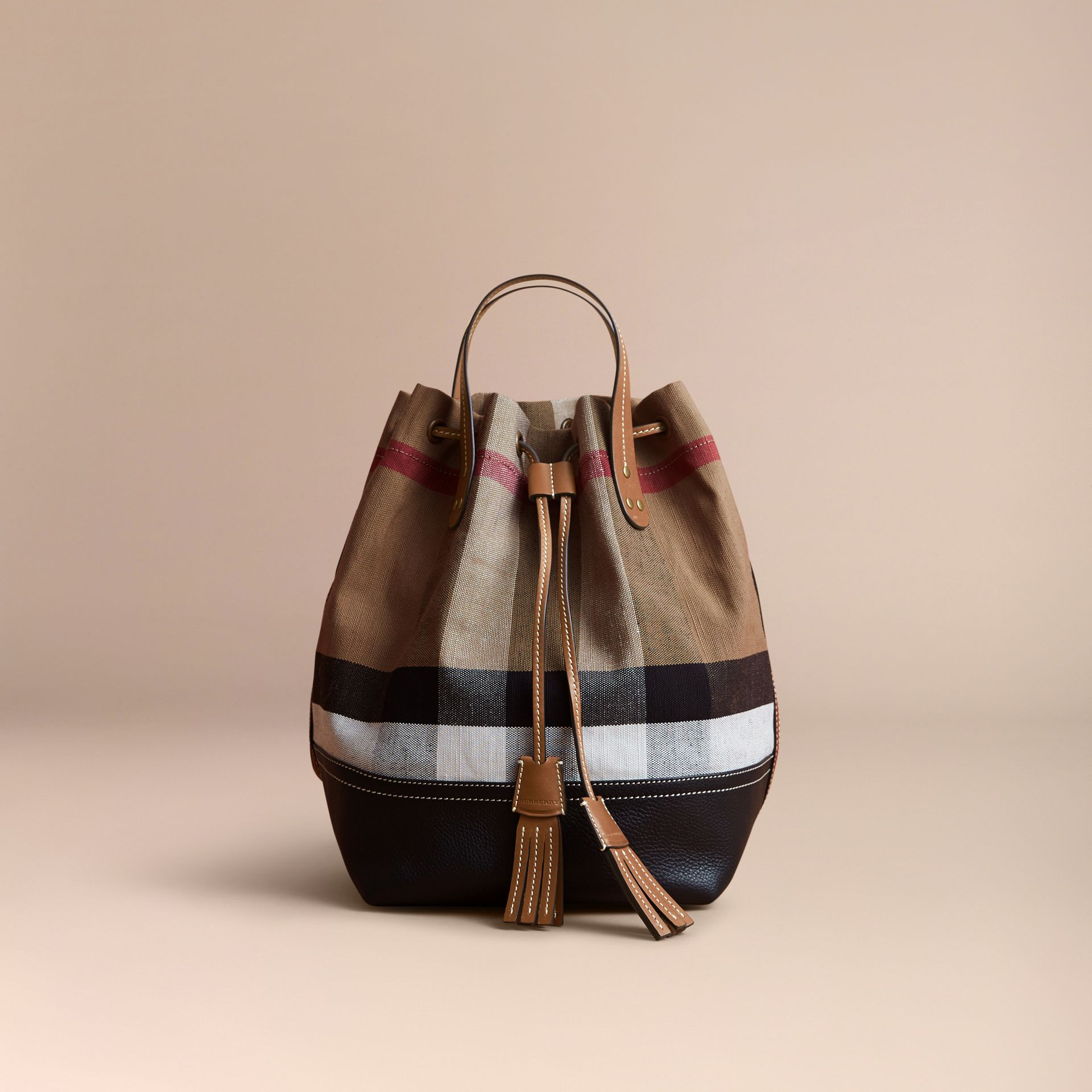 Canvas Check Bucket Bag - gallery image 7