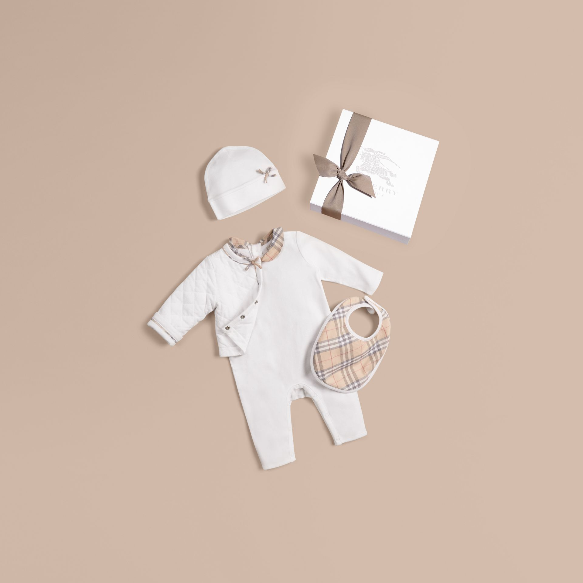 Cotton Four-piece Baby Gift Set in White - Girl | Burberry - gallery image 1