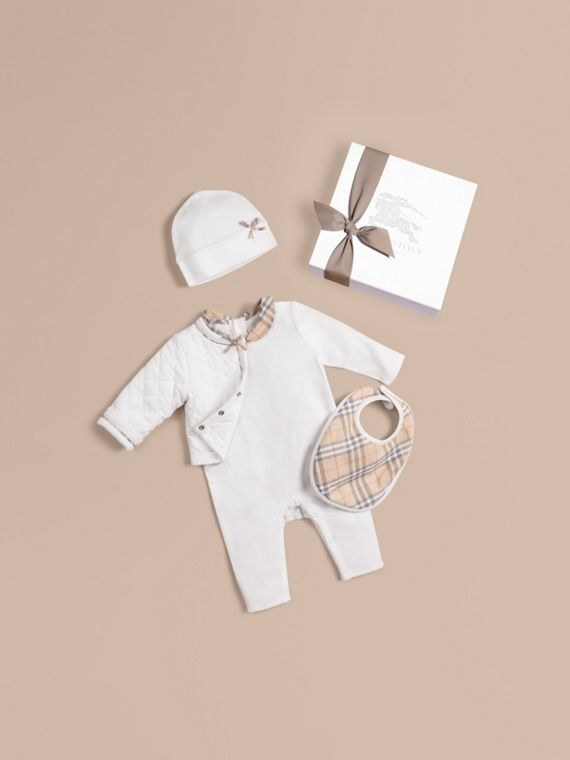 Cotton Four-piece Baby Gift Set - Girl | Burberry