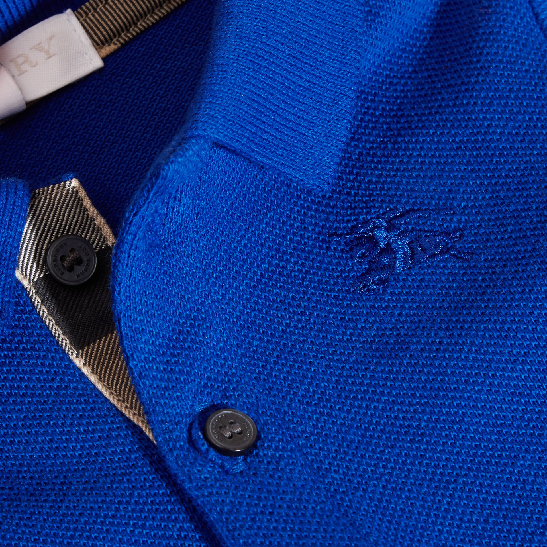 Cotton Piqué Polo Shirt in Brilliant Blue - gallery image 2