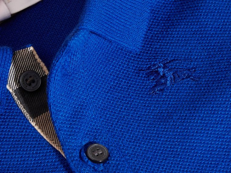 Cotton Piqué Polo Shirt in Brilliant Blue - cell image 1