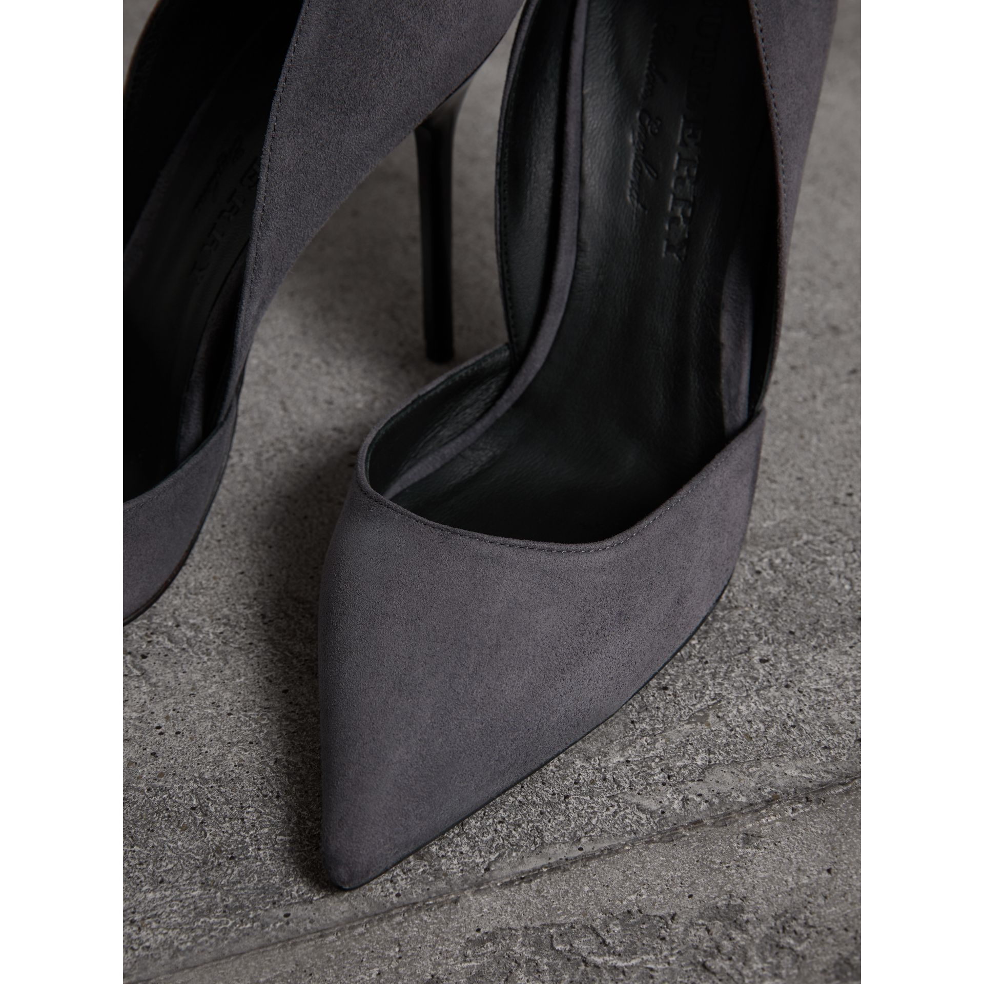 Cutaway Suede Pumps in Grey Navy - Women | Burberry - gallery image 1