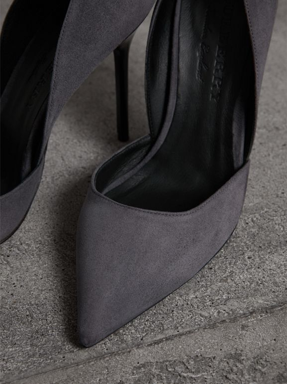 Cutaway Suede Pumps in Grey - Women | Burberry - cell image 1